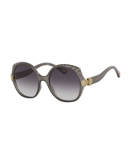 Image 1 of 2: Chloe Scalloped Round Plastic Sunglasses