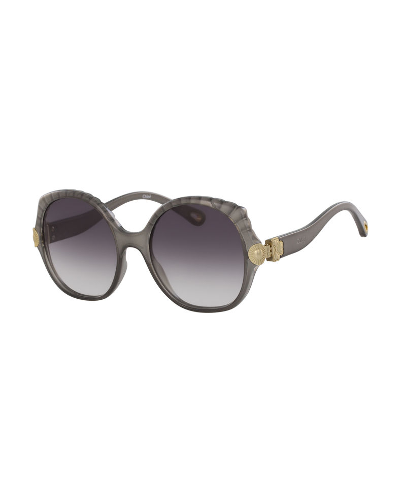 Chloe Scalloped Round Plastic Sunglasses