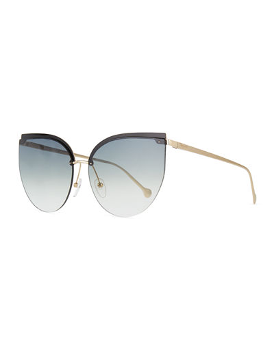 Semi-Rimless Cat-Eye Sunglasses