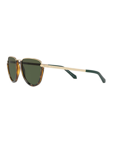Burberry Flat Top Metal Aviator Sunglasses