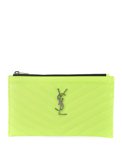 Monogram YSL Quilted Neon Bill Pouch Wallet