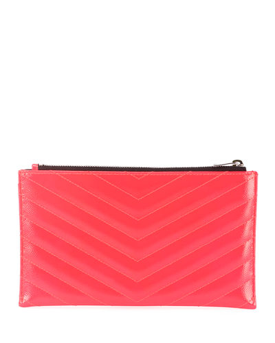 Saint Laurent Monogram YSL Quilted Neon Bill Pouch Wallet