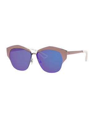 fa6160866e Dior Mirrors Semi-Rimless Round Mirrored Sunglasses