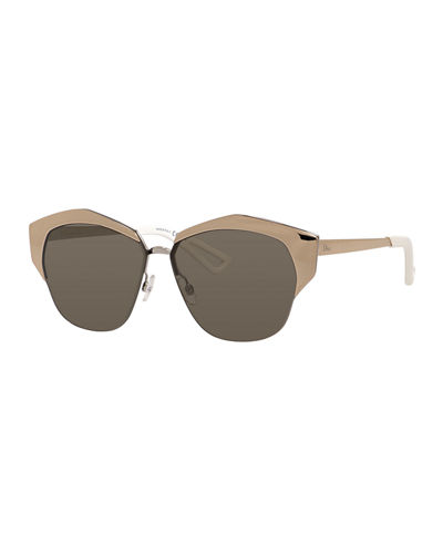 Mirrors Semi-Rimless Round Mirrored Sunglasses