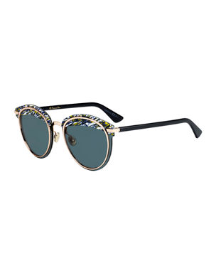 5cb6073159 Dior Offset1 Round Rimless Metal Sunglasses