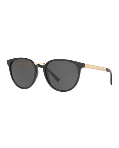 Round Gradient Sunglasses w/ Logo Arms