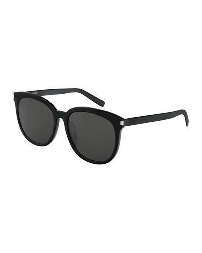 Saint Laurent Slim Round Acetate Sunglasses