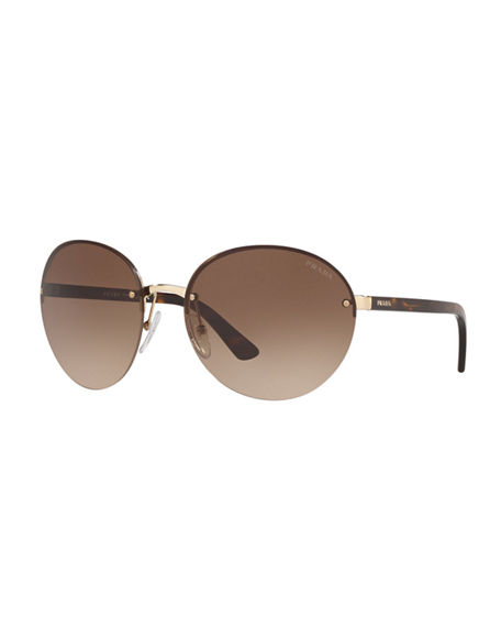 Prada Rimless Acetate/Metal Sunglasses