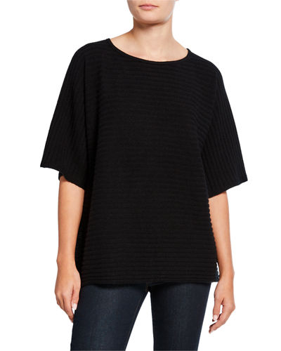 Cashmere Ribbed Elbow-Sleeve Boat-Neck Poncho