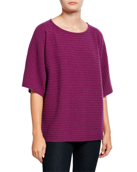Neiman Marcus Cashmere Collection Cashmere Ribbed Elbow-Sleeve Boat-Neck Poncho