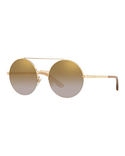 Semi-Rimless Round Steel Sunglasses