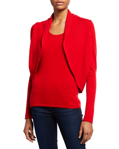Neiman Marcus Cashmere Collection Long-Sleeve Cashmere Open-Front Shrug