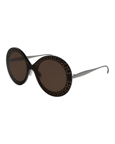 Perforated Metal Round Shield Sunglasses