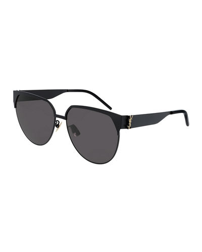 Round Semi-Rimless Metal Sunglasses