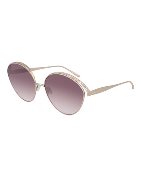 ALAIA Perforated Metal Round Sunglasses