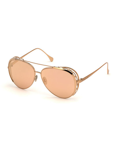 Mirrored Aviator Sunglasses w/ Swarovski Crystal Trim