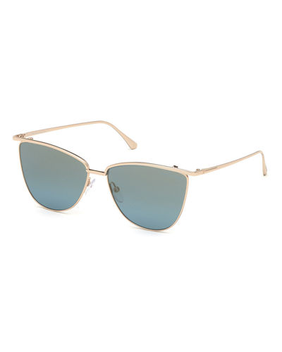 Mirrored Cat-Eye Metal Sunglasses