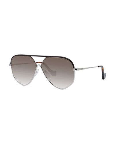 Metal Aviator Sunglasses w/ Leather Brow