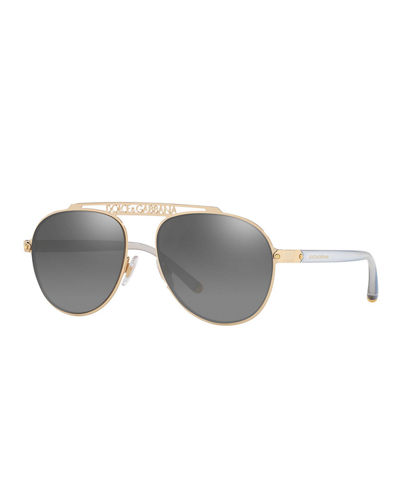 Mirrored Aviator Sunglasses w/ Logo Brow Bar