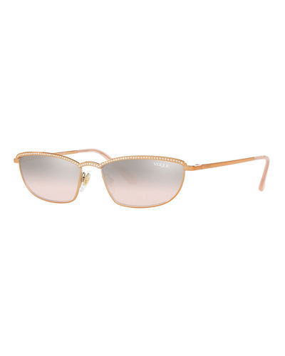 Metal Rectangle Sunglasses w/ Crystal Trim