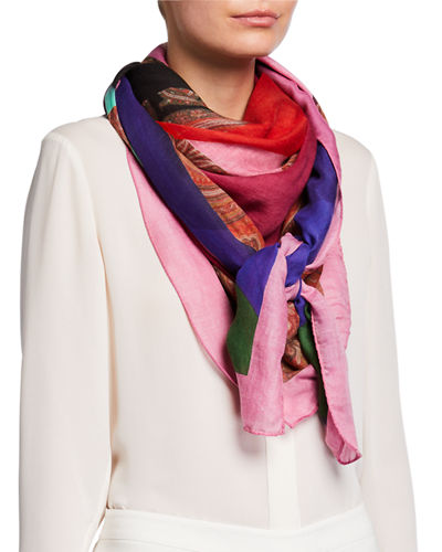 Etro Geometric Colorblock Paisley Mixed Print Scarf