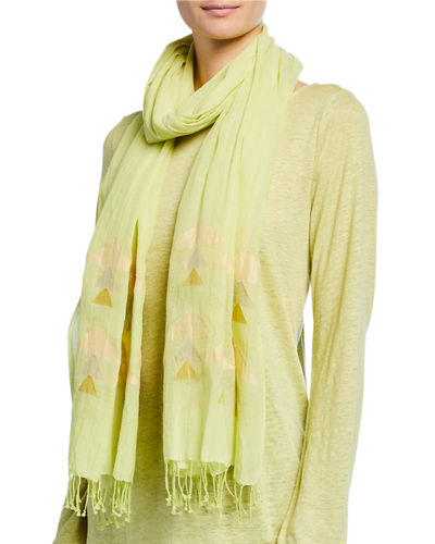 Eileen Fisher Handloom Organic Cotton Jamdani Triangles Scarf