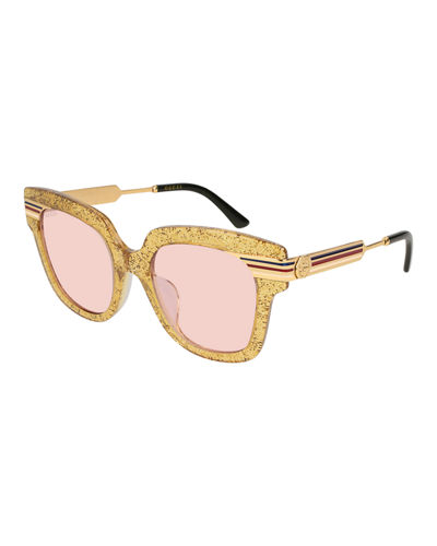 Metal & Glittered Acetate Square Sylvie Web Sunglasses