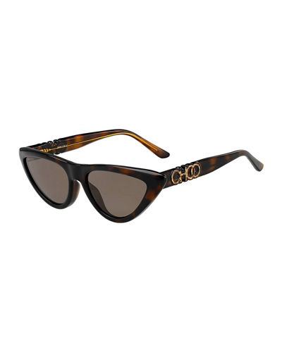Cat-Eye Propionate Sunglasses w/ Raised Logo Detail