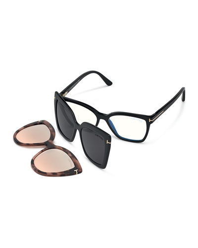 Square Blue-Block Optical Frames w/ Two Magnetic Sunglasses Clips