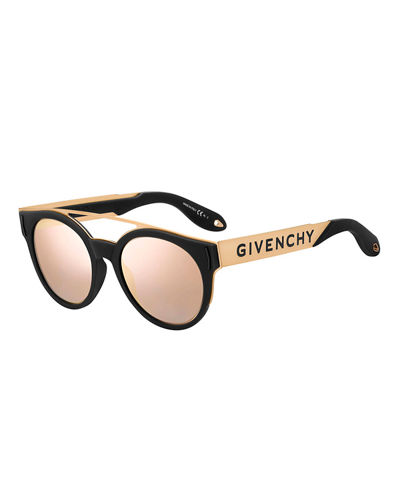 Two-Tone Rubber Round Sunglasses