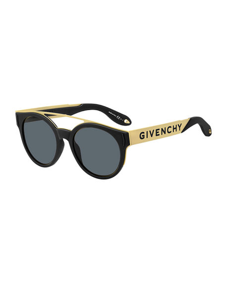 Givenchy Two-Tone Rubber Round Sunglasses