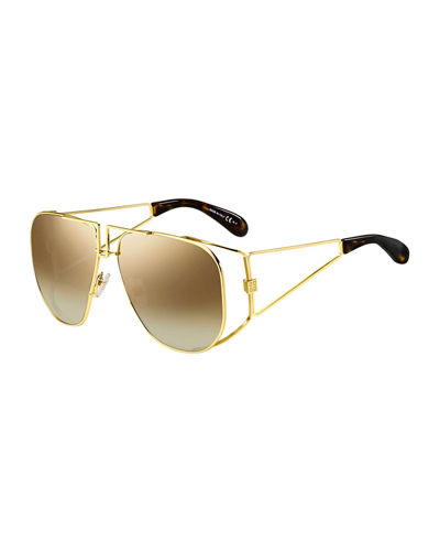 Mirrored Shield Cutout Sunglasses