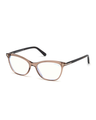 Blue Block Cat-Eye Acetate Optical Frames