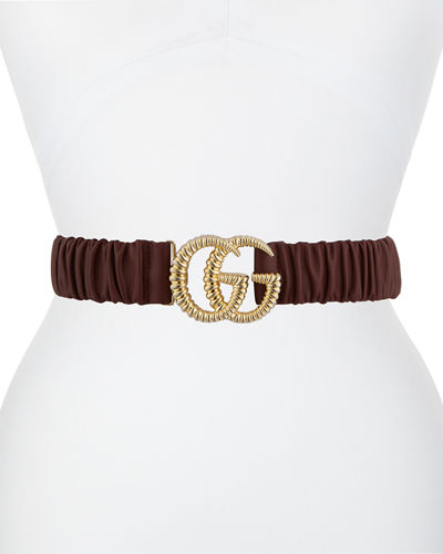 Elasticized Leather Belt w/ Torchon Double G Buckle