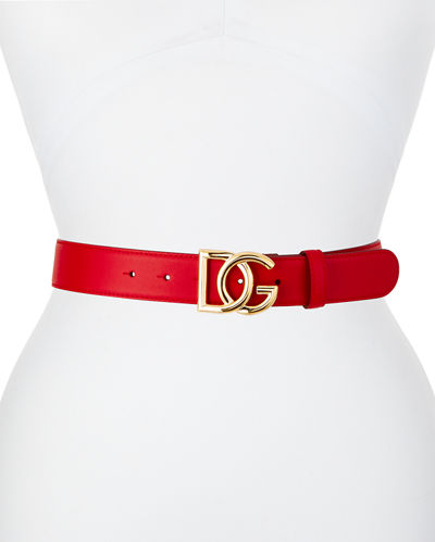 Dolce & Gabbana Solid Leather Belt w/ DG Buckle