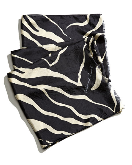Lily and Lionel Tiger-Print Fringe Scarf