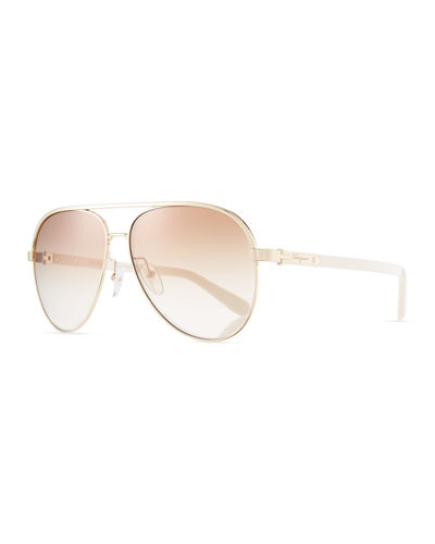 Mirrored Aviator Sunglasses w/ Contrast Brow Bar