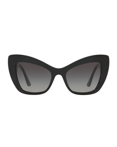 Dolce & Gabbana Chunky Cat-Eye Sunglasses w/ Logo Heart Temples