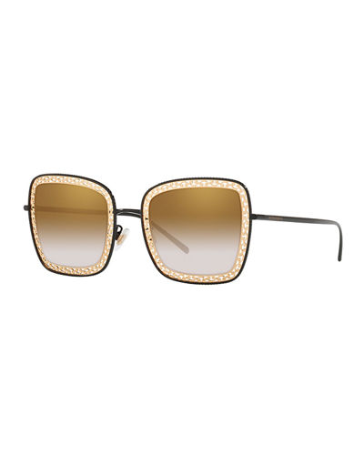 Mirrored Square Sunglasses w/ Metal Cutouts