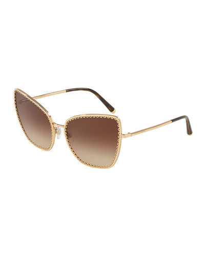 Gradient Cat-Eye Sunglasses w/ Scalloped Frame Front