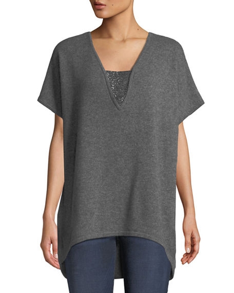 Neiman Marcus CASHMERE V-NECK PONCHO TOP WITH CHAIN DETAIL