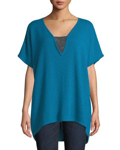 Cashmere V-Neck Poncho Top with Chain Detail