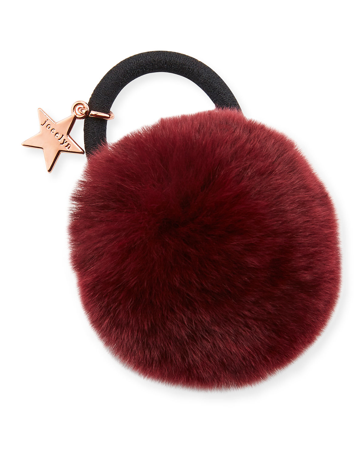 Jocelyn Accessories RABBIT FUR POMPOM PONYTAIL HOLDER