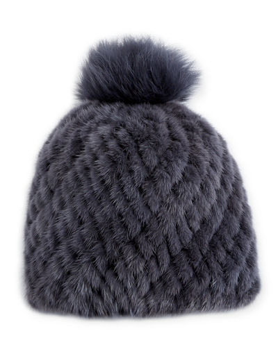 Knitted Fur Hat w/ Pompom