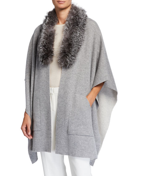 Image 3 of 4: Sofia Cashmere Double-Face Cashmere Cape w/ Fur Collar