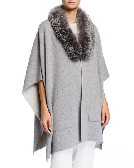 Image 1 of 4: Sofia Cashmere Double-Face Cashmere Cape w/ Fur Collar