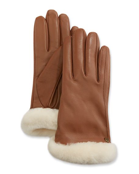 UGG Genuine Leather Shorty Tech Gloves