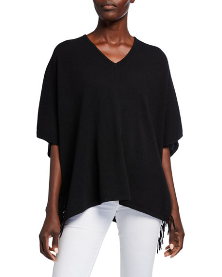 Neiman Marcus Cashmere Collection Cashmere V-Neck 1/2-Sleeve Fringe Trim Poncho