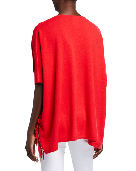 Image 3 of 4: Neiman Marcus Cashmere Collection Cashmere V-Neck 1/2-Sleeve Fringe Trim Poncho
