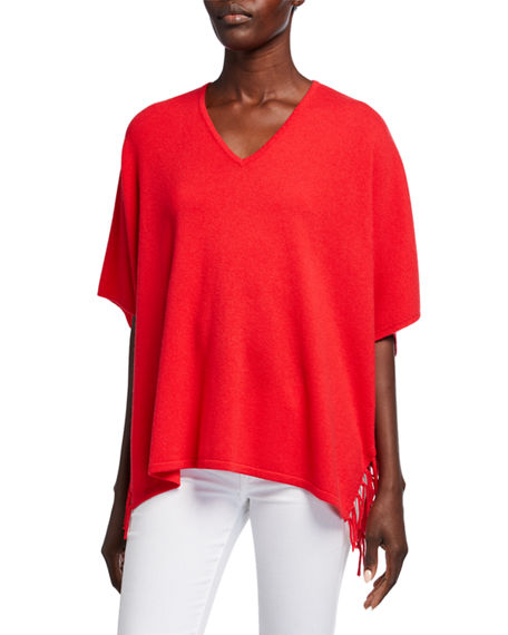 Image 1 of 4: Neiman Marcus Cashmere Collection Cashmere V-Neck 1/2-Sleeve Fringe Trim Poncho